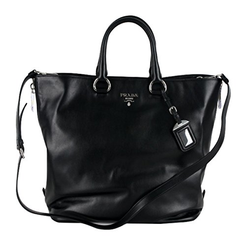 Prada Soft Calf Leather Shopping Tote Bag BN2477, Black