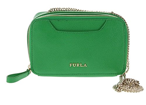 Furla Minnie Leather Shoulder Handbag in Emerald (033)
