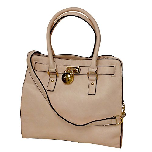 MKF Collection Plora Pad-lock Structured Designer Handbag (Large, Beige)