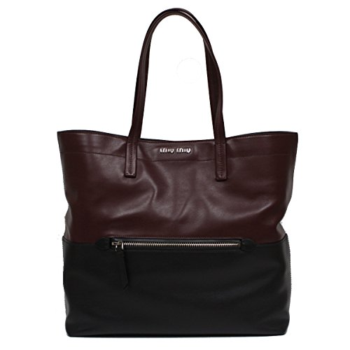 Miu Miu by Prada Vitello Soft Leather Shopping Tote Bag, Burgundy & Black Two-Toned Colorblock