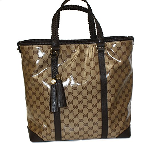 Gucci Crystal Coated Canvas and Leather Large Tote Bag 336660, Brown