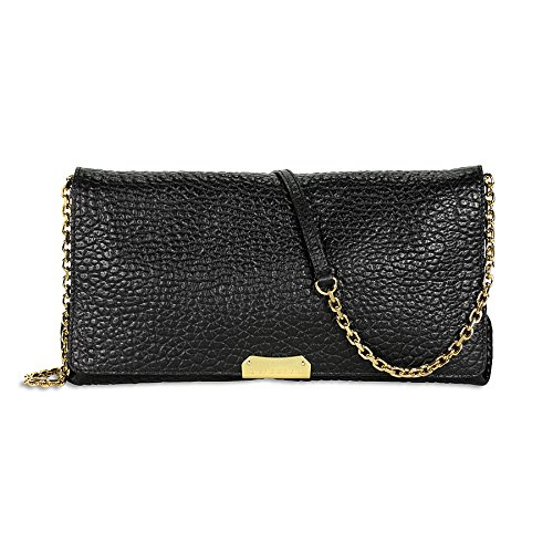 Burberry Medium Signature Leather Clutch – Black