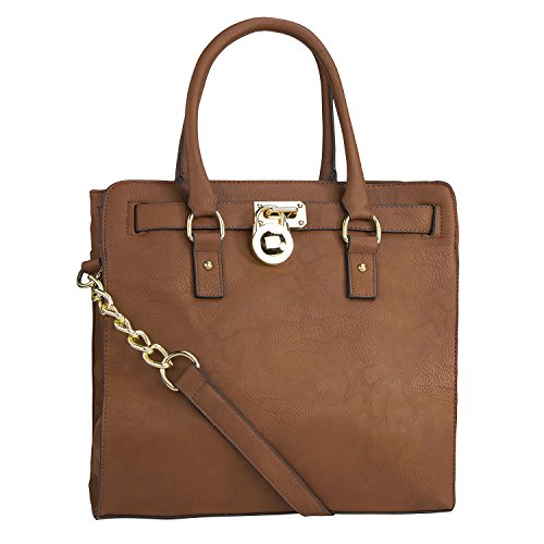 MKF Collection Plora Pad-lock Structured Designer Handbag (Large, Brown)