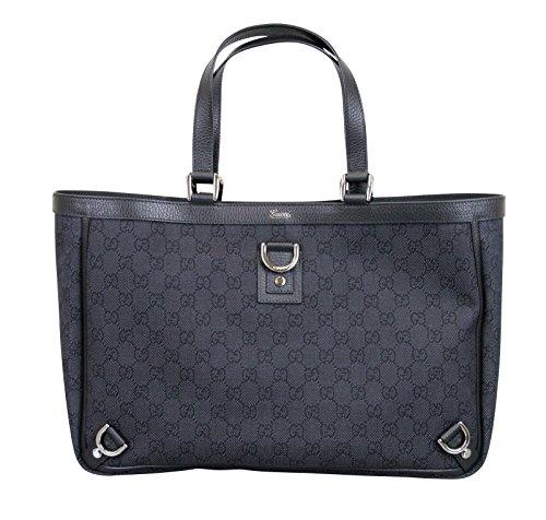 Gucci Black Denim Handbag GG Abbey D Ring Tote Bag 293580 1160