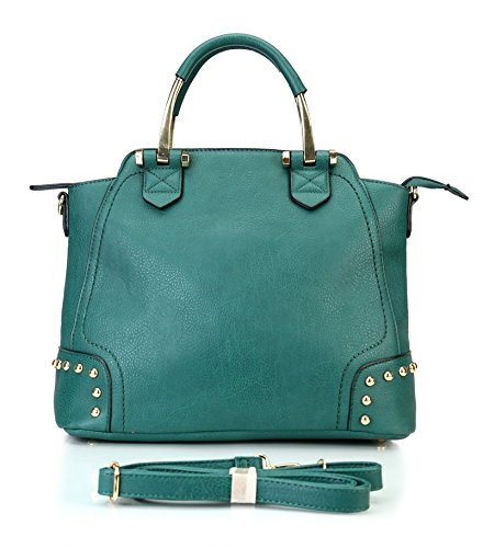 Rimen & Co. Tote Satchel Large Shopper Purse Bag Women Handbag Accented Metal Top Handle RX-1616