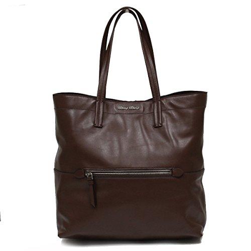 Miu Miu by Prada Vitello Soft Leather Shopping Tote Bag, Bruciato Coffee Brown
