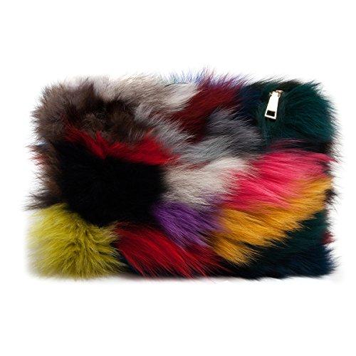 Zarapack Women's Genuine Fur Evening Clutch Handbag Runway Bag Purse