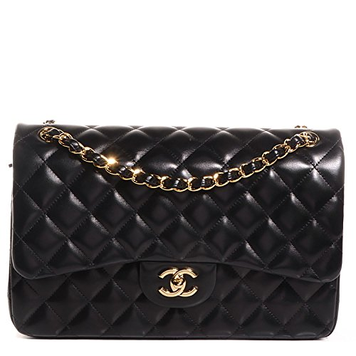 $6000 Chanel Jumbo Classic Handbag Double Flap / Black / Lambskin / Gold Chain