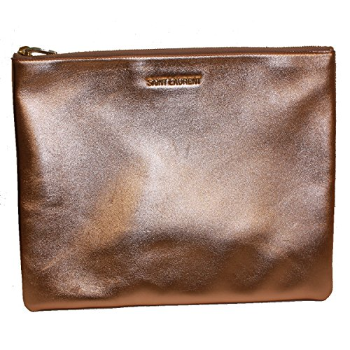 Saint Laurent 'Letters' Metallic Rose Gold Calfskin Leather Zip Clutch, Large 328517