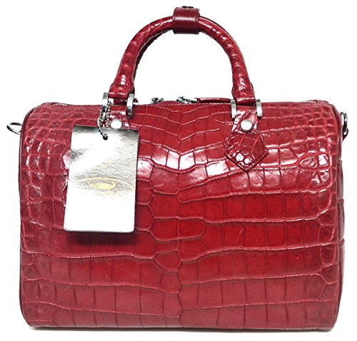 Authentic M Crocodile Skin Womens Belly Leather W/Strap Clutch Bag Purse Burgundy Red Handbag