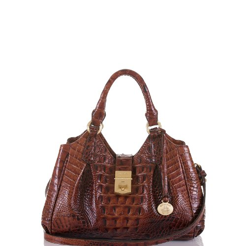 Brahmin Mini Elisa Crossbody Pecan Melbourne Emb Leather