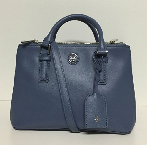 Tory Burch Robinson Micro Double-Zip Tote – Comet Blue