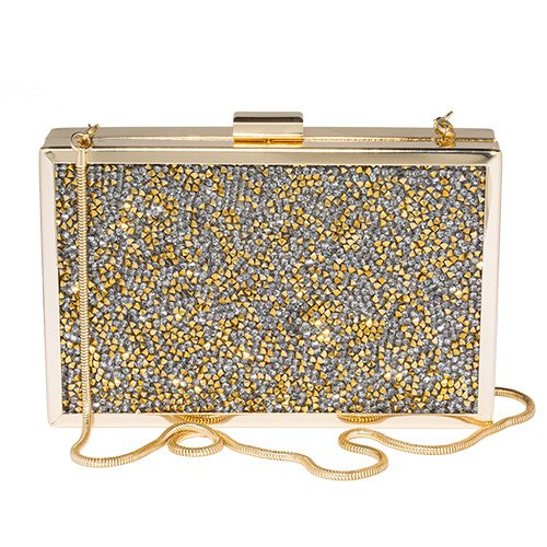 Paul Peugeot 3D Gold Crystal Clustered Evening Clutch Bag in Gold Plated Finish