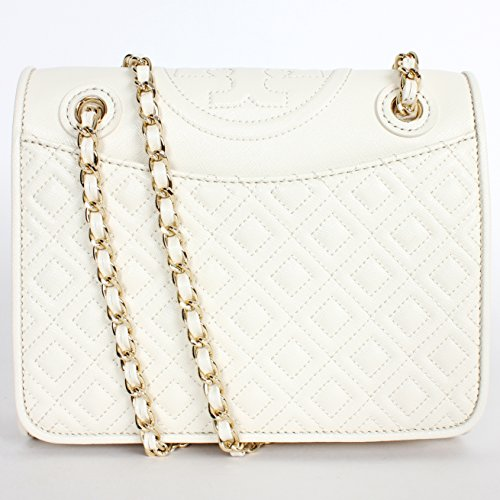 Tory Burch Fleming Quilted Patent Leather Medium Bag New Ivory