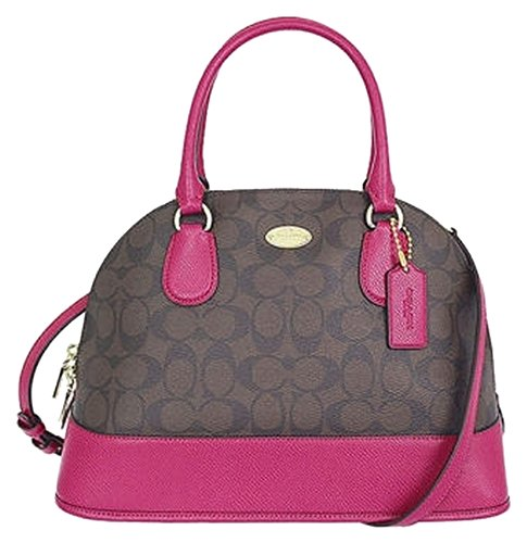 Coach Signature Cora Domed Satchel in Brown & Cranberry Purple Pink
