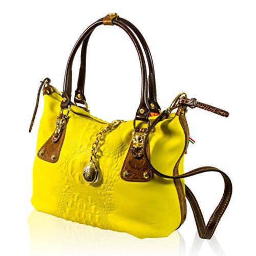 Marino Orlandi Designer Yellow Alligator Embossed Leather Purse Slouchy Bag