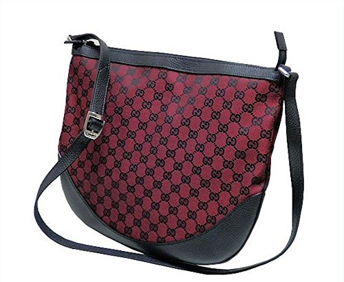 Gucci GG Guccissima Black and Red Logo Messenger Bag 272380
