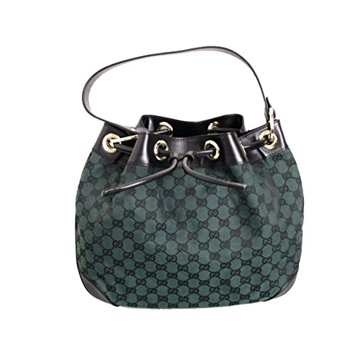 Gucci Canvas Leather Dark Green Drawstring Shoulder Bag 272374