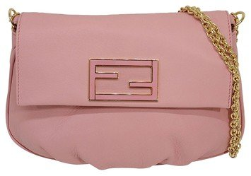 Fendi 'fendista' Pouchette Powder Leather Baguette Chain Handbag 8m0276 Shoulder Bag