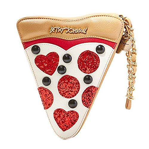Betsey Johnson Kitch Slice Slice Baby Pizza Wristlet Handbag in Cream