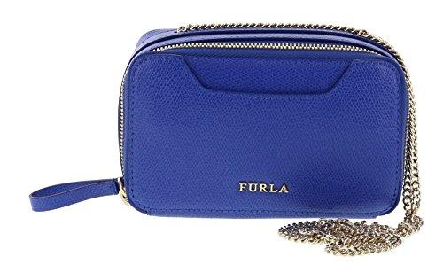 Furla Minnie Leather Shoulder Handbag in Ocean (026)