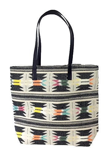 Lucky Brand Colorful Arrowhead Pattern Canvas Tote, Black Multi