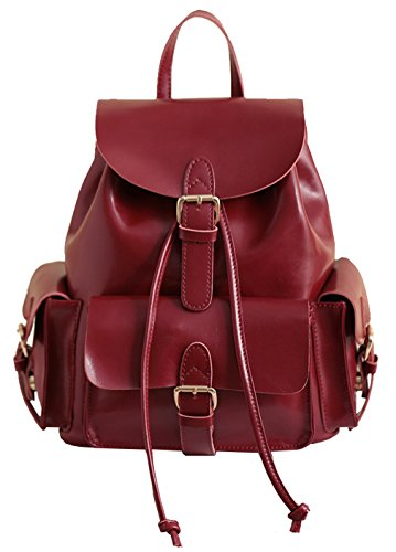 Heshe® New Leather Fashion Women's Simple Style Candy Color Backpack Tote Top Handle Shoulder Bag Cross body Handbag For Ladies
