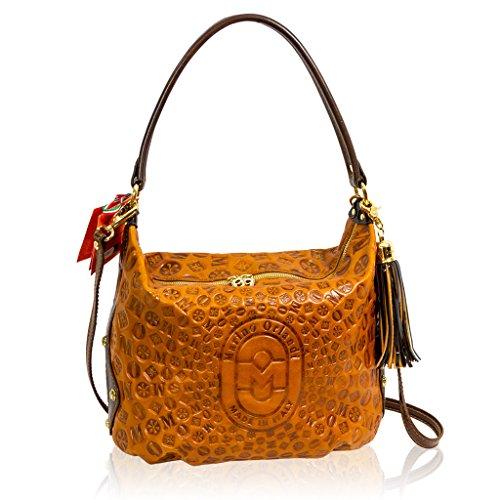 Marino Orlandi Italian Designer Cognac Sun Ray Monogram Leather Crossbody Bag