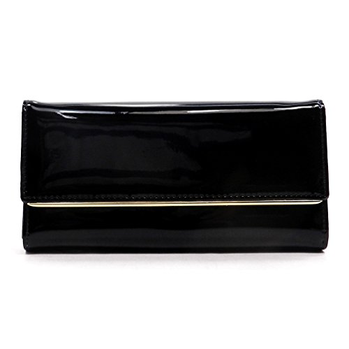 Patent Faux Leather Womens Trifold Clutch Wallet Wristlet