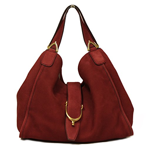 Gucci Soft Stirrup Large Red Suede Leather Shoulder Hobo Bag
