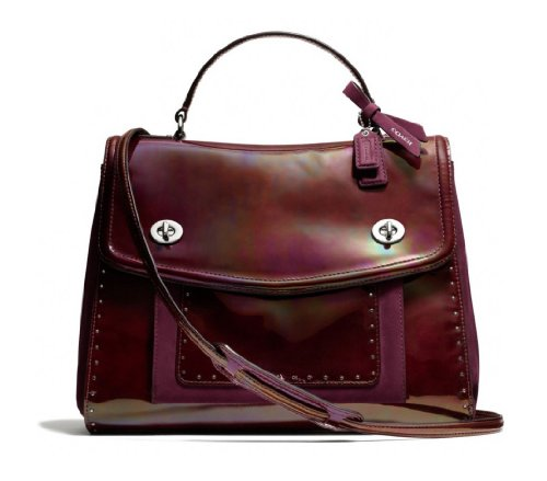 Coach Poppy Studded Leather Editorial Victoria Satchel 26430