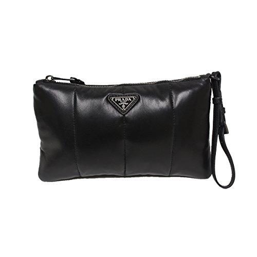 Prada Bomber Soft Nappa Leather Wristlet Clutch Bag 1N1783, Nero Black