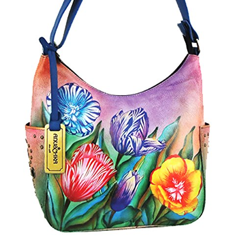 Anuschka Hand Painted Genuine Leather Hobo Handbag (Turkish Tulips)