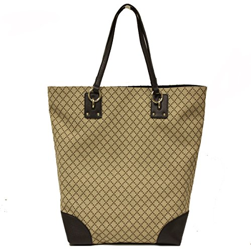 Gucci Diamante Canvas and Leather Large Business Portfolio Tote Bag
