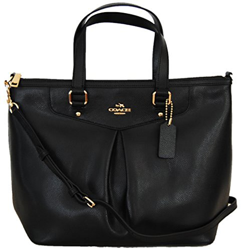 COACH CRSGR Pleat Tote Shoulder Bag Handbag Satchel Black 34680