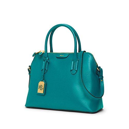 Lauren Ralph Lauren Womens Tate Dome Satchel (Turkish Blue/Cocoa)