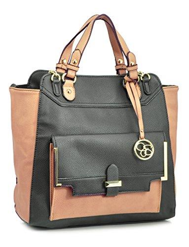 Jessica Simpson Color Block Tote Convertible Bag, Black/Sand