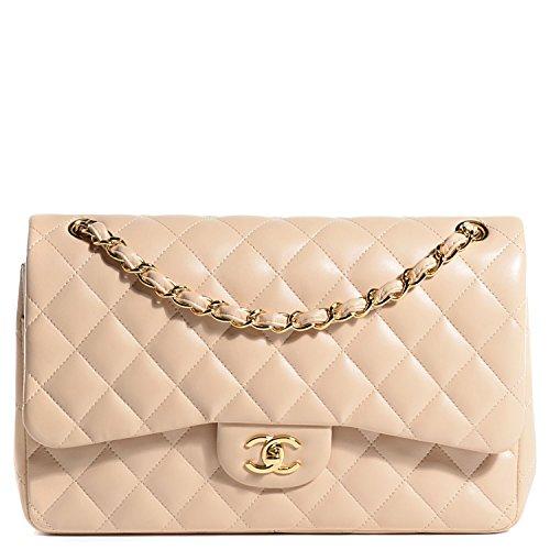 $6000 Chanel Jumbo Classic Handbag Double Flap / Beige / Lambskin / Gold Chain