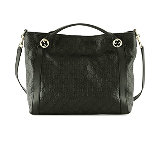 AUTHENTIC GUCCI Miss Guccissima GG Leather Large Top Handle Shoulder Bag (Black/Light Gold)