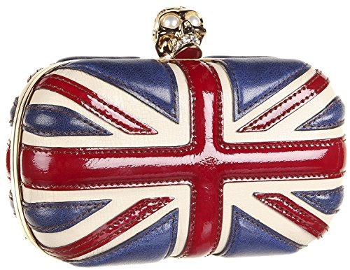 Alexander McQueen Britannia Leather Jeweled Skull Box Clutch