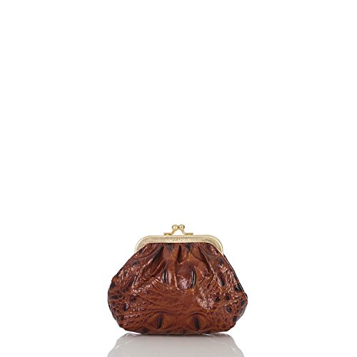 Brahmin Kisslock Pouch Pecan Melbourne Emb Leather Keyring