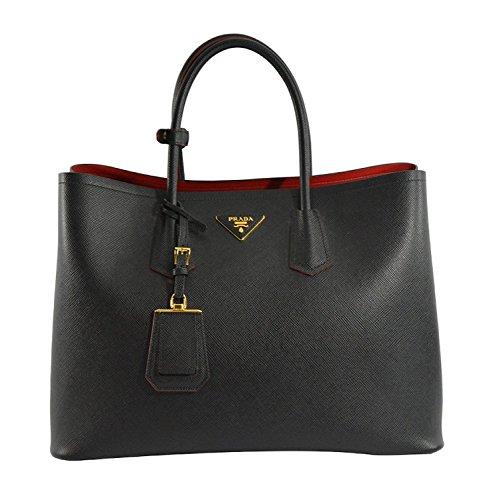 Prada Women's Saffiano Cuir Tote Bag BN2761 F0002 Nero (Black)