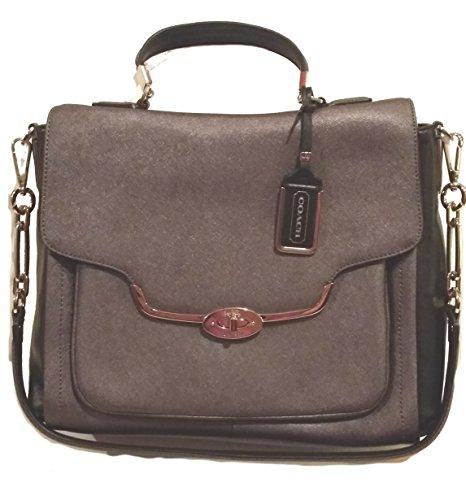 Coach Madison Saffiano Leather Flap Satchel 25167 Bag