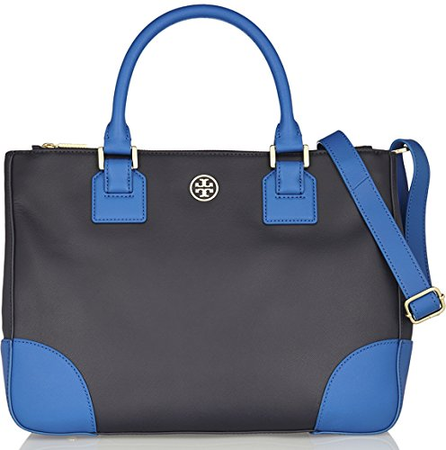 Tory Burch Womens Robinson Color Block Double Zip Tote, Tory Navy/Evening Sky, One Size
