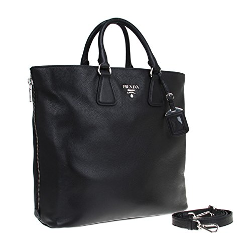 Prada Vitello Phenix Textured Leather Shopping Tote Bag BN2419, Black