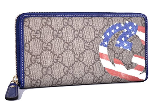 Gucci Unicef Beige Canvas GG Guccissima American Flag Zip Around Wallet Limited Edition