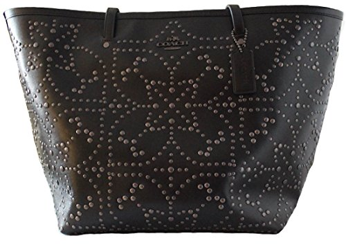 Coach Large Street Purse Tote Handbag F35163 Studded Black Leather