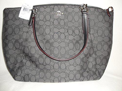 Coach Outline Signature Kelsey Satchel Shoulder Bag Handbag Black Smoke F36722 SVDK6