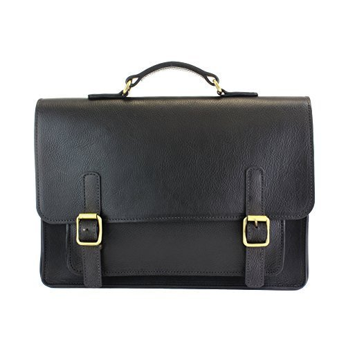 The British Belt Company Kingston Ebony Black & Tan Satchel