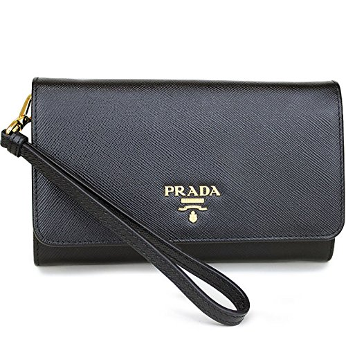 Prada Black Wristlet with Folding Wallet Ladies Saffiano Black 1m1438 Handbag